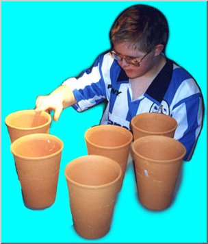 Boy counting pots